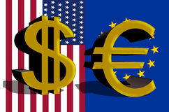 Dollar sign of the USA and Euro currency Stock Image