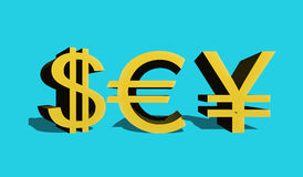 Dollar sign of the USA, eurocurrencies and Japanese enes Stock Photo