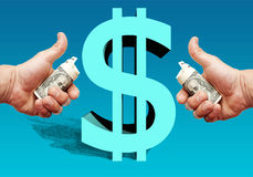 Dollar sign of the USA with a shadow and with hands on each side Royalty Free Stock Image