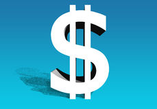 Dollar sign of the USA of white color Stock Images