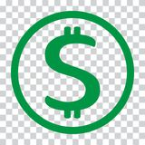Dollar sign. USD currency symbol. Money label. Vector illustration. Dollar sign. USD currency symbol. Money label. Green icon on transparent background. Vector stock illustration