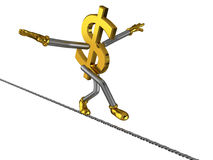 Dollar sign walks on a steel rope. Risk to fall, isolated on white royalty free illustration