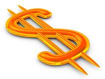 Dollar sign on white background. Isolated 3D image Stock Images