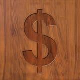 Dollar sign on wood Stock Image