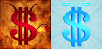 Dollar signs. Devilish and angelic dollar signs Royalty Free Stock Photography