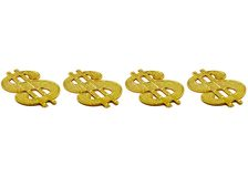 Dollar Signs. Four gold dollar signs on white royalty free stock image