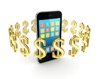 Dollar signs around modern mobile phone. Stock Photography