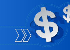 Dollar Signs and Arrows on Blue Background Royalty Free Stock Photo