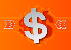 Dollar Signs and Arrows on Orange Background Stock Image