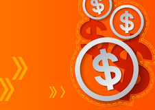 Dollar Signs and Arrows on Orange Background Stock Images