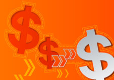 Dollar Signs and Arrows on Orange Background Stock Photography