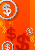 Dollar Signs and Arrows on Orange Background Stock Photos