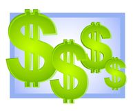 Dollar Signs Background Blue Royalty Free Stock Photos