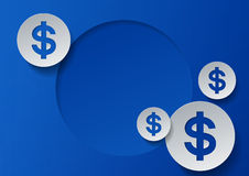 Dollar Signs on Blue Background Stock Photography