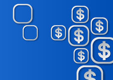 Dollar Signs on Blue Background Royalty Free Stock Image