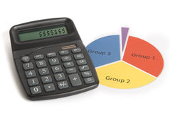 Dollar Signs on Calculator. A calculator next to a generic primary-colored pie chart Stock Photo