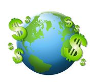 Dollar Signs Cash Earth. An illustration featuring the planet Earth surrounded with green dollar signs isolated on white Stock Photo
