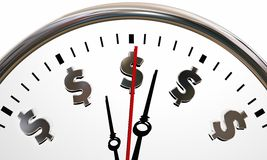 Dollar Signs Clock Time is Money Symbols Royalty Free Stock Images