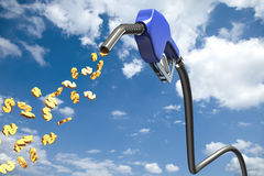 Dollar signs comming out of a blue fuel nozzle Stock Photos