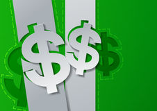 Dollar Signs Cut from White Paper on Green Background Stock Photos