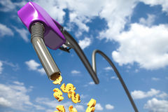 Dollar signs dripping out of a purple fuel nozzle Stock Image