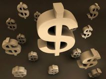 Dollar Signs Flying. Dollar Sign Flying Financial Design Stock Image
