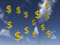 Dollar signs in front of cloudy sky. Digital render of Dollar signs in front of a cloudy sky Royalty Free Stock Images
