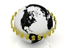 Dollar signs in gold encircle the planet Stock Image