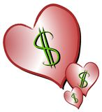 Dollar Signs on Hearts Clipart. A clip art illustration of a collection of pink gradient isolated hearts with dollar signs representing dating, love for sale vector illustration