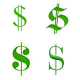 Dollar signs isolated on white. Royalty Free Stock Photos