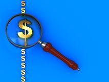 Dollar signs and magnify glass Stock Image
