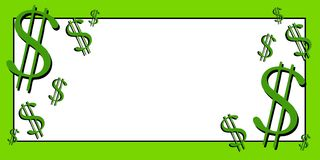 Dollar Signs Money Clip Art 3. A clip art illustration of a banner featuring dollar signs in green with ample white space for your own text royalty free illustration