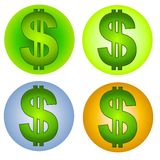 Dollar Signs Money Web Icons. A clip art illustration of 4 different cash dollar money icons in your choice of 2 shades of green, blue and gold Stock Images