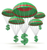 Dollar signs parachuting down from the sky. For the design of information related to business and economy Stock Images