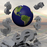3D illustration of Earth with Dollar symbols Stock Photo