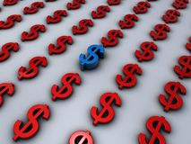 Dollar signs in red with one unique in blue Stock Images