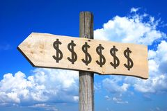 Dollar signs - wooden signpost Stock Photos