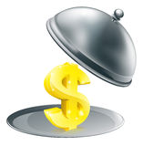 Dollar on silver platter concept Stock Image