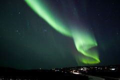 Dollar in the sky-some noise. Auroral display in the shape of S letter, or US dollar Stock Image