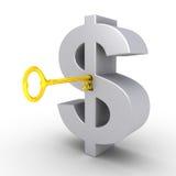 Dollar-sleutel in het sleutelgat van dollarsymbool Royalty-vrije Stock Foto's
