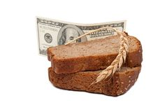 Dollar with slice bread Stock Photos