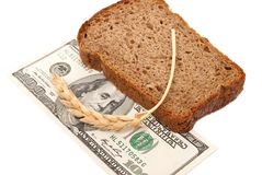 Dollar with slice bread Stock Photo