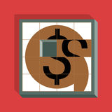 Dollar Sliding Puzzle. On a red backgrond Royalty Free Stock Images