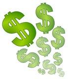 dollar som bleknar isolerade tecken Arkivfoton