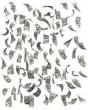 Dollar som faller på vit bakgrund Arkivfoto