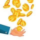 Dollar som faller till affärshandvektorn Lägenhet illustration för guld- mynt för tecknad film Finansmyntdesign Isolerad valuta stock illustrationer