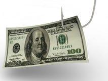 dollar som fiskar krok hundra Royaltyfri Fotografi