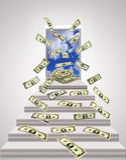 Dollar som flyger ut från dörr med blå himmel Royaltyfri Fotografi