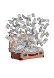 Dollar som flyger ut ur den gamla resväskan Royaltyfri Foto