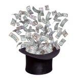 Dollar som hudflänger ut ur den gamla hatten Arkivfoton